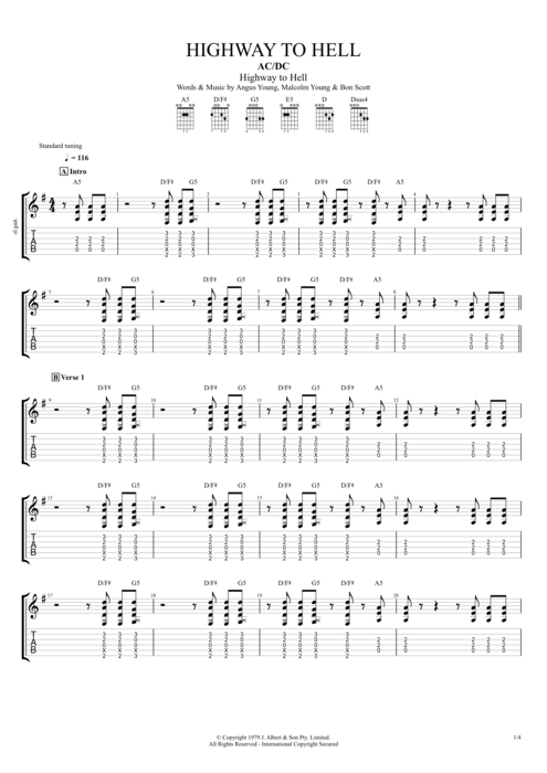 Highway to Hell by AC/DC - Full Score Guitar Pro Tab : mySongBook.com