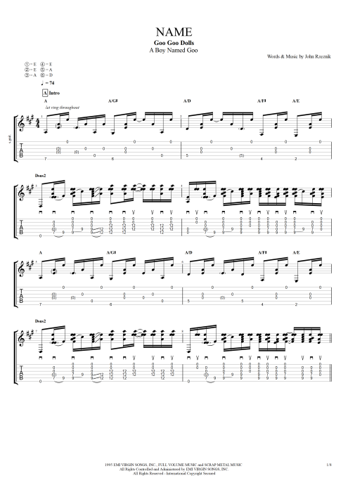 how to play iris on guitar tabs