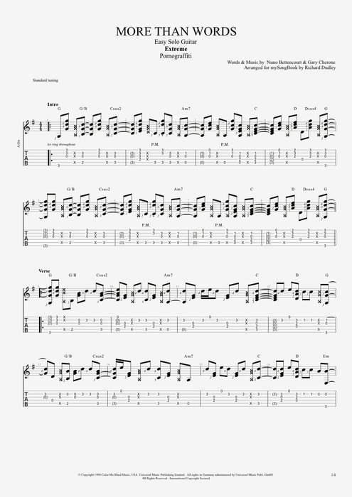 Guitar u00bb Guitar Tabs More Than Words - Music Sheets, Tablature, Chords and Lyrics