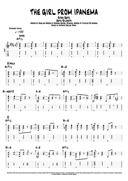 The Girl from Ipanema by Stan Getz - Full Score Guitar Pro Tab ...