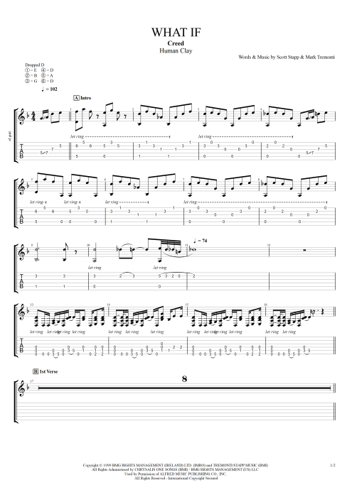 What If By Creed Full Score Guitar Pro Tab Mysongbook Com