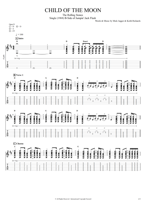 Child of the Moon by The Rolling Stones - Full Score Guitar Pro Tab ...