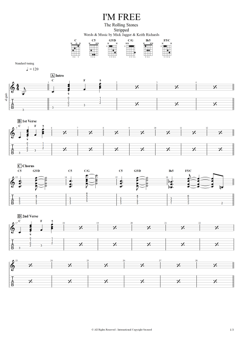 I'm Free - The Rolling Stones tablature