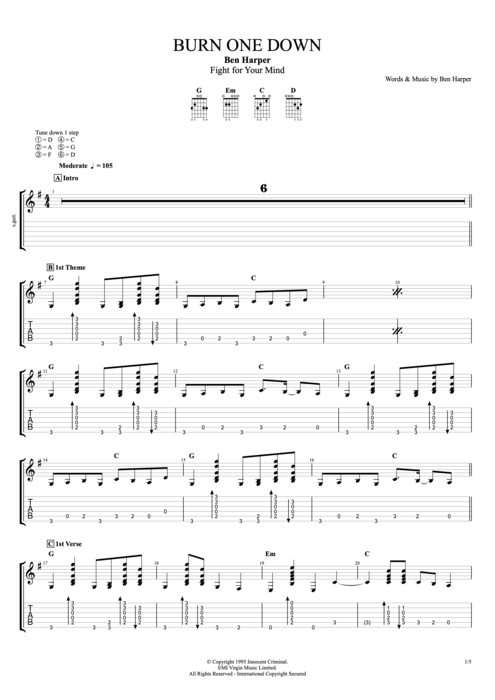 Burn One Down by Ben Harper - Full Score Guitar Pro Tab | mySongBook.com