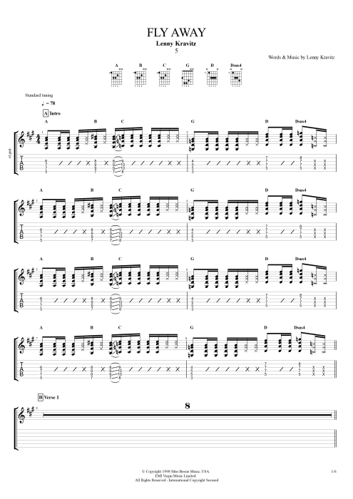 Fly Away - Lenny Kravitz tablature
