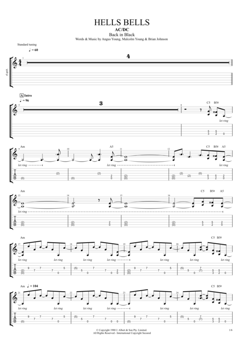 Hells Bells by AC/DC - Full Score Guitar Pro Tab : mySongBook.com