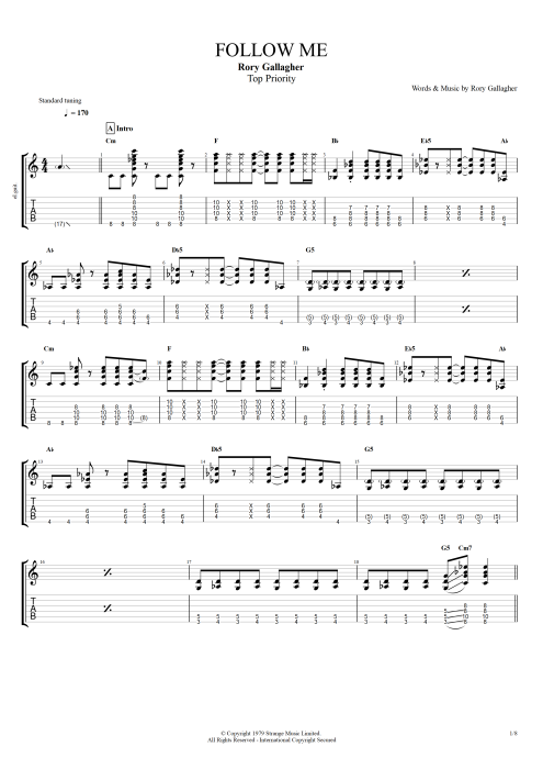 Follow Me - Rory Gallagher tablature