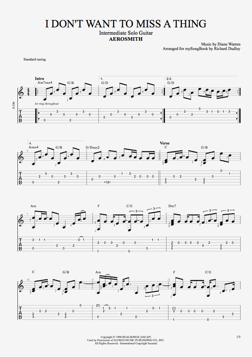 I Don\'t Want to Miss a Thing by Aerosmith - Intermediate Solo Guitar ...