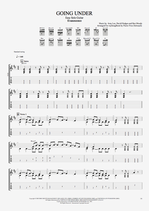 Going Under By Evanescence Easy Solo Guitar Guitar Pro Tab