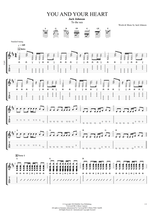 You and Your Heart by Jack Johnson - Full Score Guitar Pro Tab ...