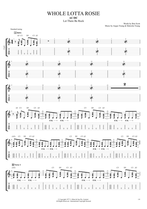 Guitar ac dc guitar tabs : Whole Lotta Rosie by AC/DC - Full Score Guitar Pro Tab ...