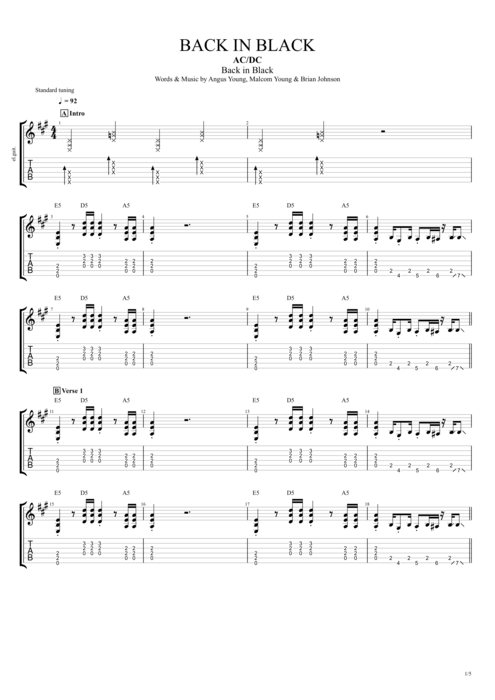 Back in Black by AC/DC - Full Score Guitar Pro Tab | mySongBook.com