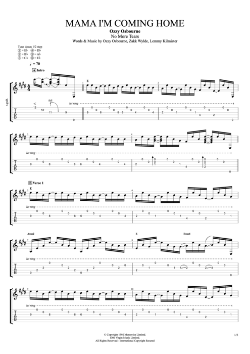 Mama Im Coming Home By Ozzy Osbourne Full Score Guitar Pro Tab