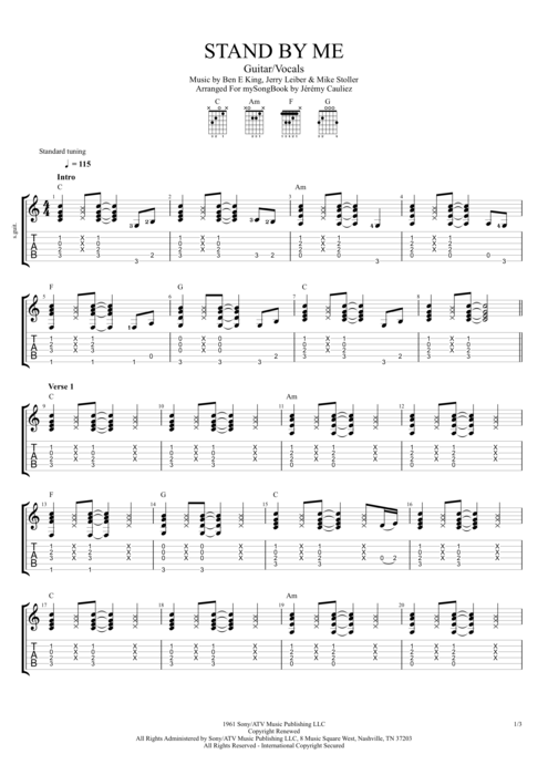 Stand By Me By Ben E King Guitarvocals Guitar Pro Tab
