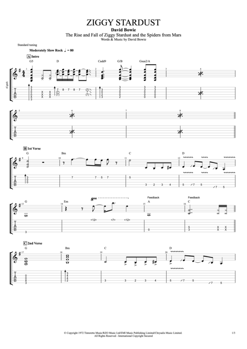Guitar u00bb Guitar Chords Ziggy Stardust - Music Sheets, Tablature, Chords and Lyrics