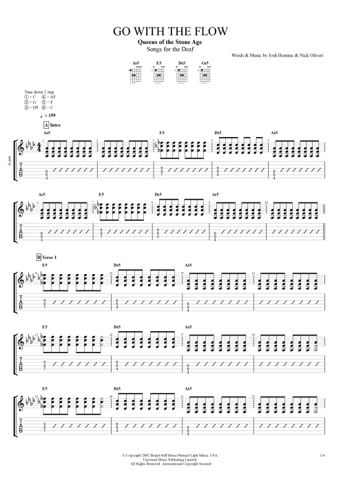 Go with the Flow by Queens of the Stone Age - Full Score Guitar ...