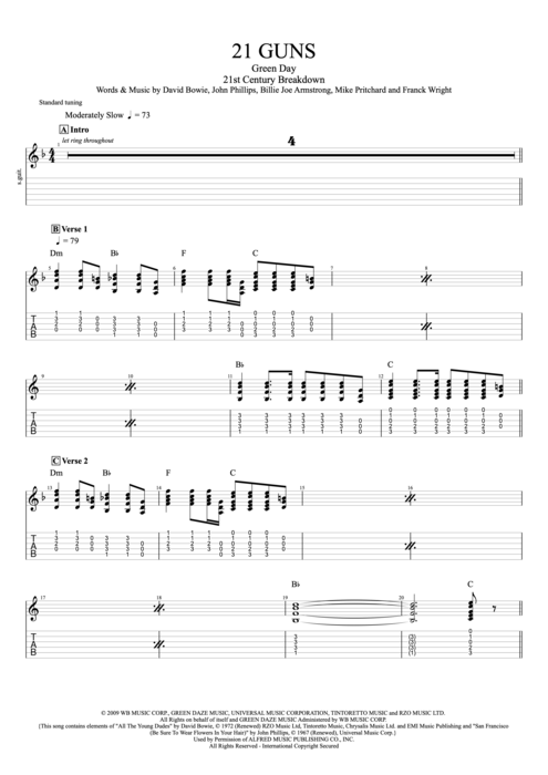 21 Guns by Green Day - Full Score Guitar Pro Tab : mySongBook.com