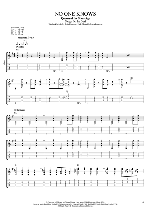 No One Knows by Queens of the Stone Age - Full Score Guitar Pro Tab ...