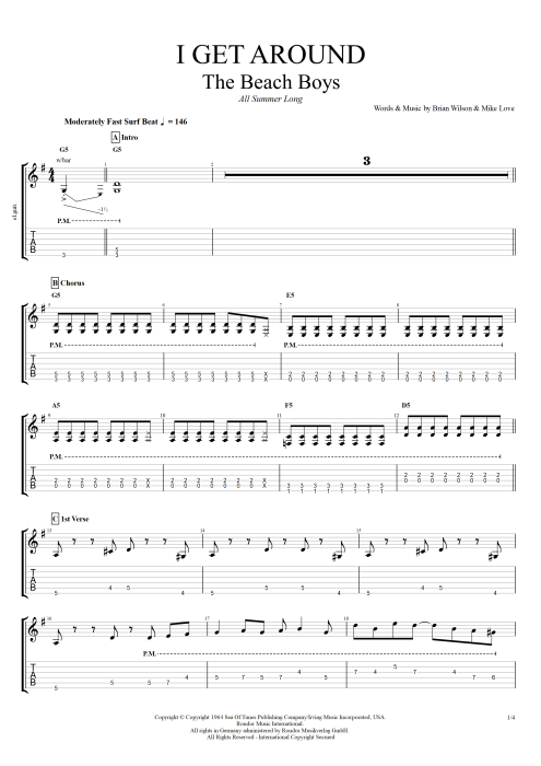I Get Around by The Beach Boys - Full Score Guitar Pro Tab ... - photo#2