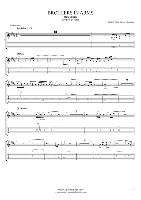 Brothers In Arms By Dire Straits Full Score Guitar Pro Tab