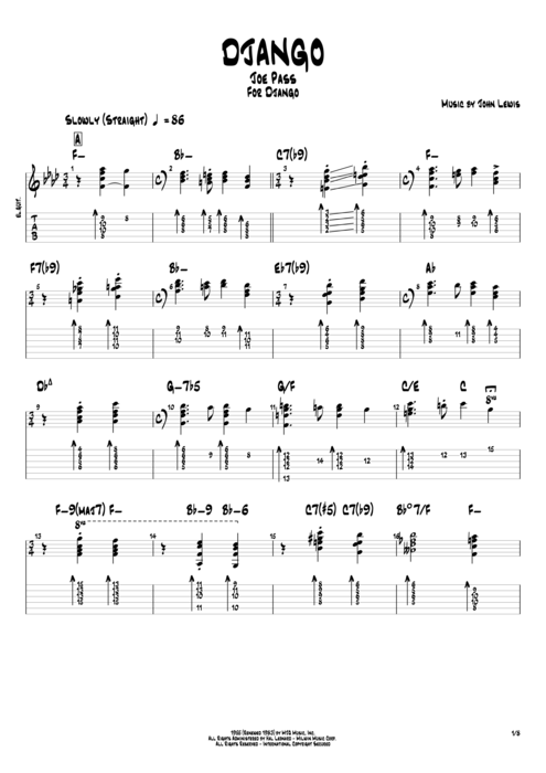 Django by Joe Pass - Full Score Guitar Pro Tab | mySongBook.com