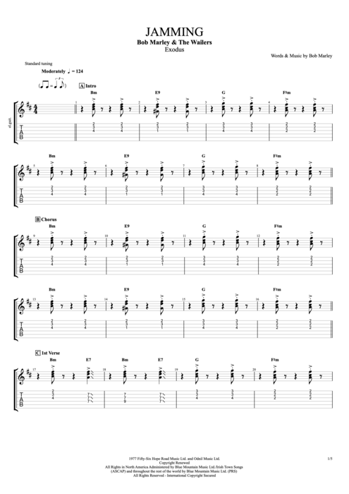 Jamming - Bob Marley tablature