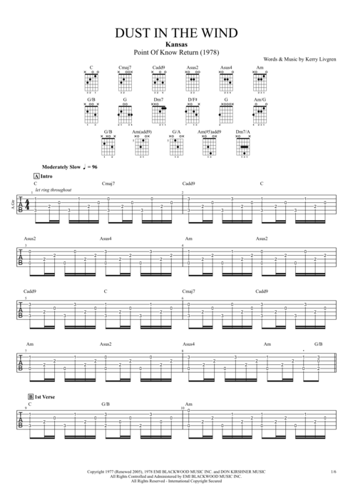 Dust in the Wind by Kansas - Full Score Guitar Pro Tab | mySongBook.com
