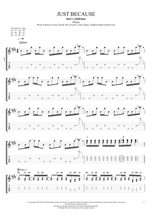 Just Because by Jane\'s Addiction - Full Score Guitar Pro Tab ...