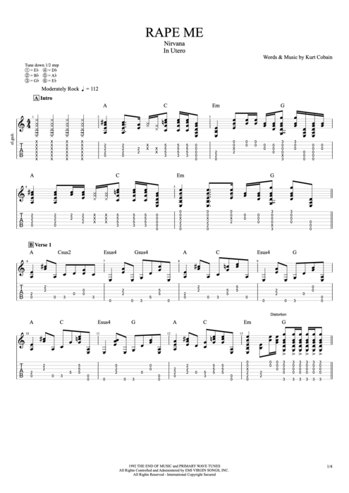 Guitar : guitar tabs nirvana Guitar Tabs at Guitar Tabs Nirvanau201a Guitar