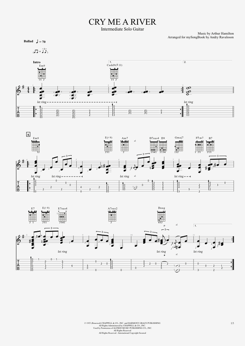 Cry Me a River - Arthur Hamilton tablature