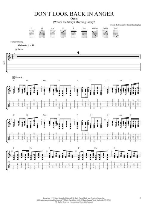 Don\'t Look Back in Anger by Oasis - Full Score Guitar Pro Tab ...