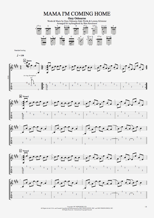 Mama I'm Coming Home - Ozzy Osbourne tablature