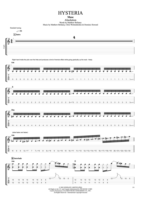 Hysteria By Muse Full Score Guitar Pro Tab Mysongbook