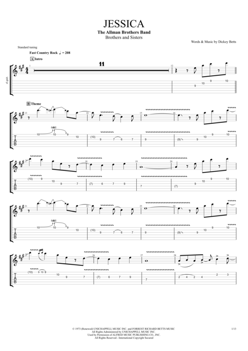 Jessica - The Allman Brothers Band tablature
