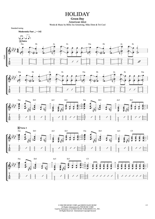 Holiday By Green Day Full Score Guitar Pro Tab Mysongbook