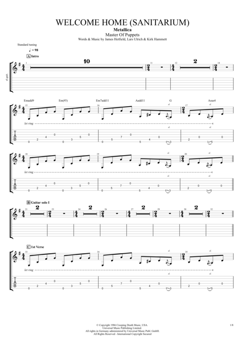 Welcome Home (Sanitarium) by Metallica - Full Score Guitar Pro Tab : mySongBook.com