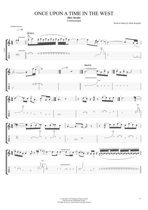 Once Upon a Time in the West by Dire Straits - Full Score Guitar Pro Tab : mySongBook.com
