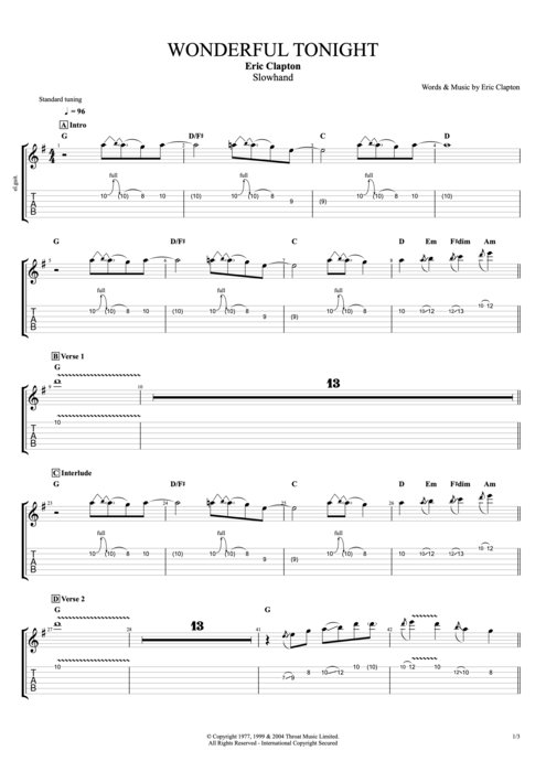 Wonderful Tonight By Eric Clapton Full Score Guitar Pro Tab