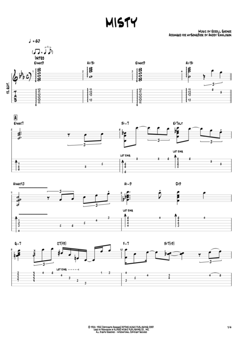 Misty By Erroll Garner Jazz Trio Guitar Pro Tab Mysongbookcom