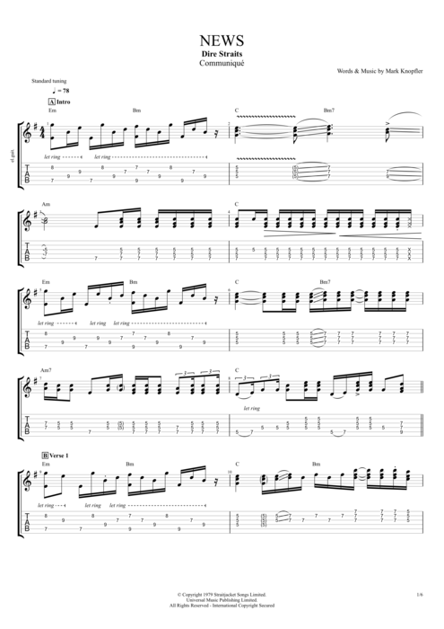 News By Dire Straits Full Score Guitar Pro Tab Mysongbook