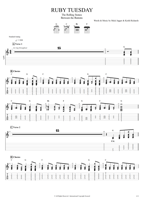 Ruby Tuesday By The Rolling Stones Full Score Guitar Pro