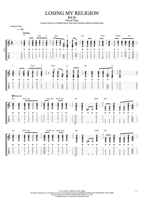 Losing My Religion by R.E.M. - Full Score Guitar Pro Tab : mySongBook.com