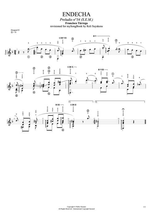 Endecha - Francisco Tarrega tablature