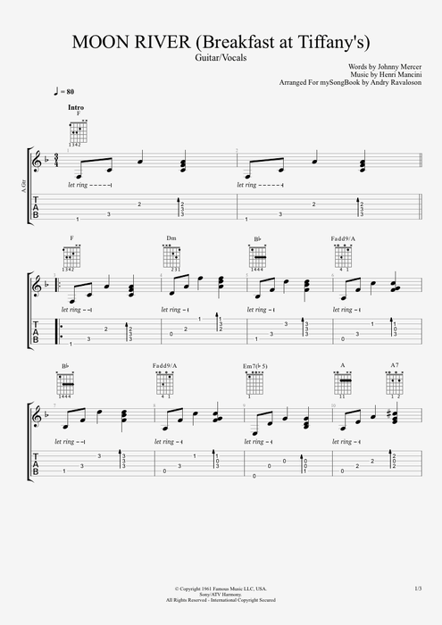 Guitar u00bb Moon River Guitar Tabs - Music Sheets, Tablature, Chords and Lyrics