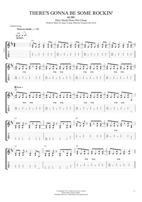 There's Gonna Be Some Rockin' by AC/DC - Full Score Guitar Pro Tab ...