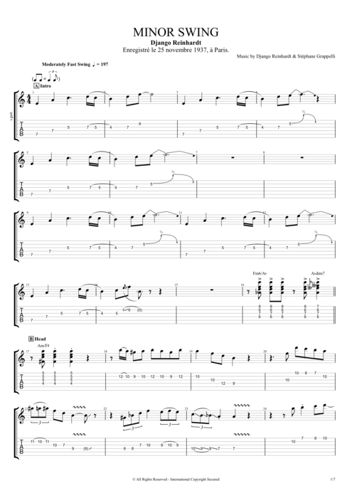 Minor Swing by Django Reinhardt - Full Score Guitar Pro Tab ...
