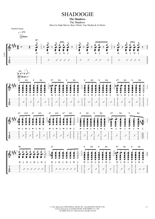 Shadoogie By The Shadows Full Score Guitar Pro Tab