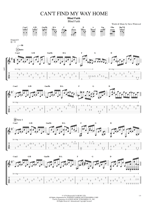 Cant Find My Way Home Chords