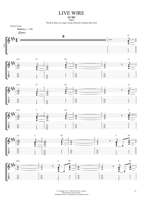 Guitar ac dc guitar tabs : Live Wire by AC/DC - Full Score Guitar Pro Tab | mySongBook.com