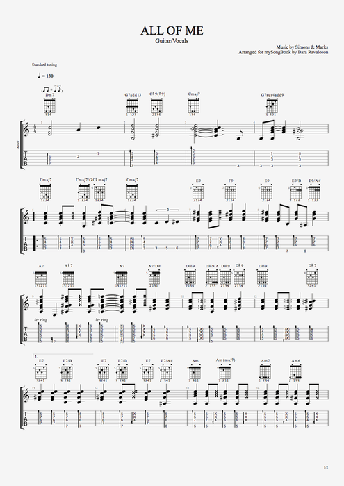 All of Me by Gerald Marks and Seymour Simons - Guitar/Vocals Guitar Pro Tab : mySongBook.com